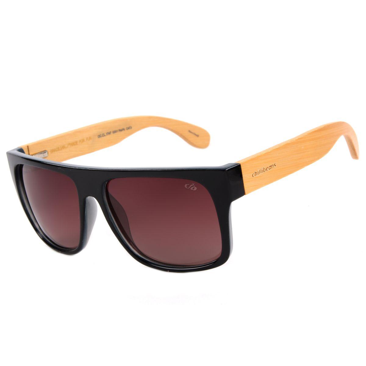 a554c80f3398c Óculos de Sol Masculino Chilli Beans Haste de Bambu Preto Polarizado ...
