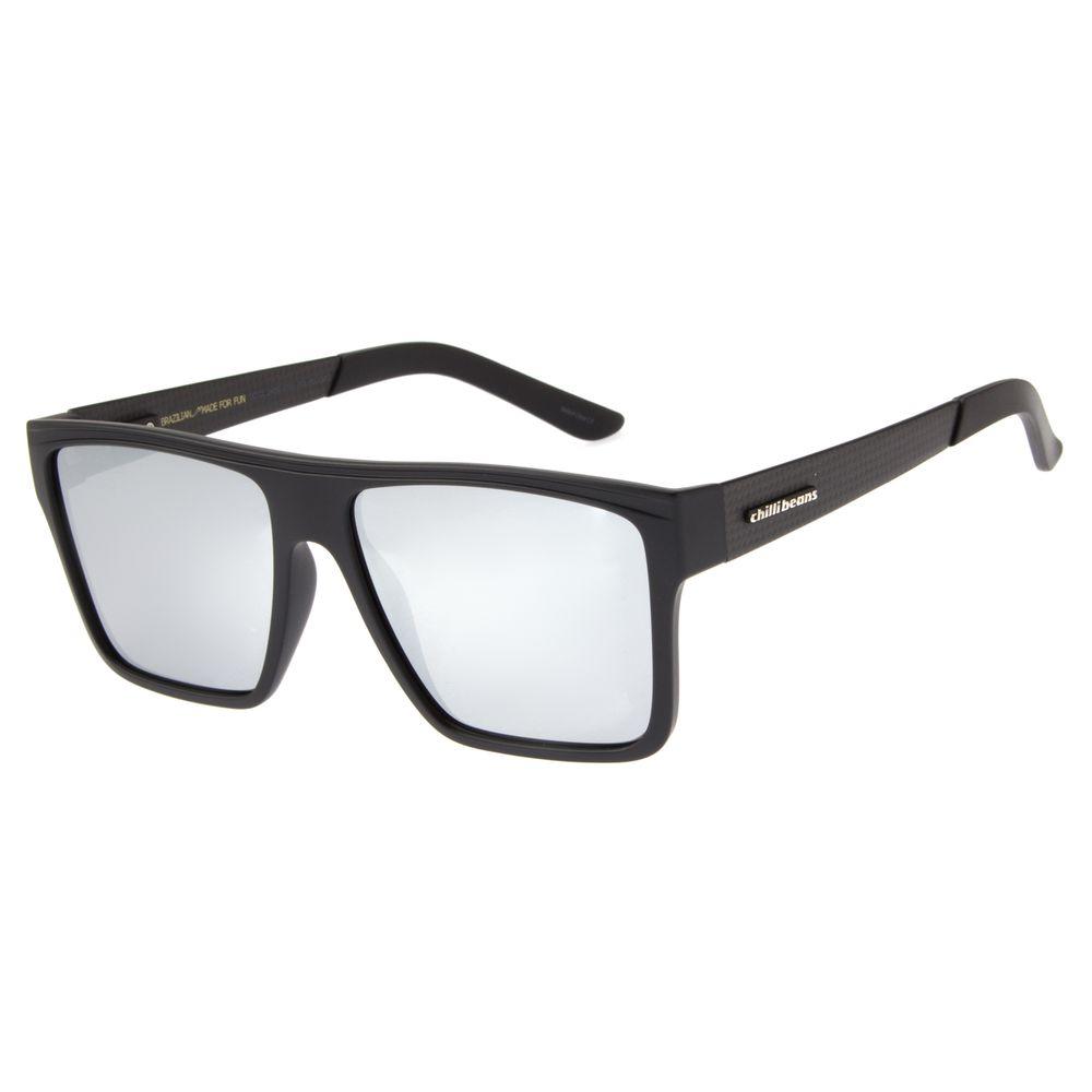 Óculos De Sol Masculino Chilli Beans Quadrado Prata Polarizado OC.CL.2409-0701