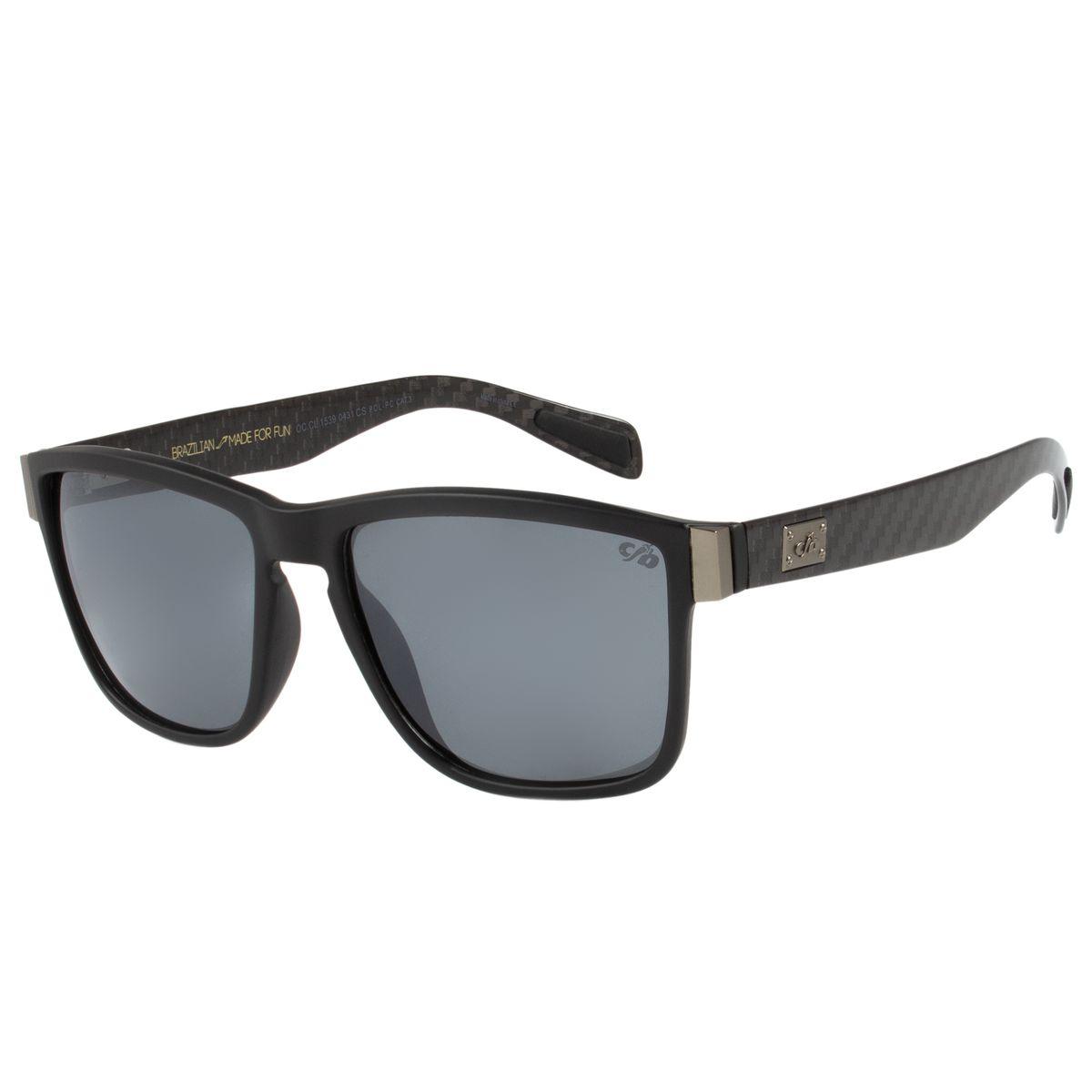 1baa4d196 Óculos de Sol Masculino Chilli Beans Polarizado Retangular Preto ...