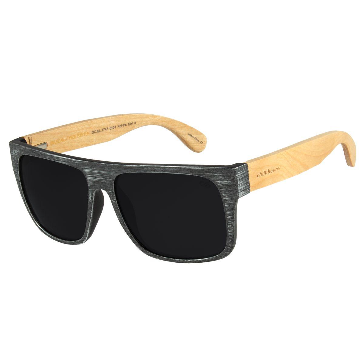 4a4fa85f2efda Óculos de Sol Masculino Chilli Beans Haste de Bambu Preto Polarizado ...