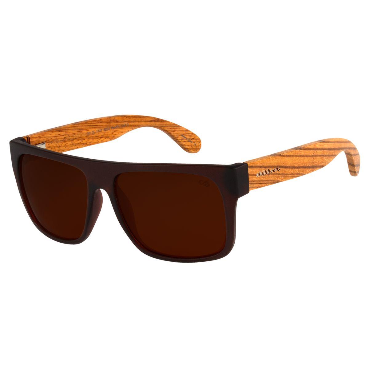 2970f0a10ce1f Óculos de Sol Masculino Chilli Beans Haste de Bambu Marrom ...