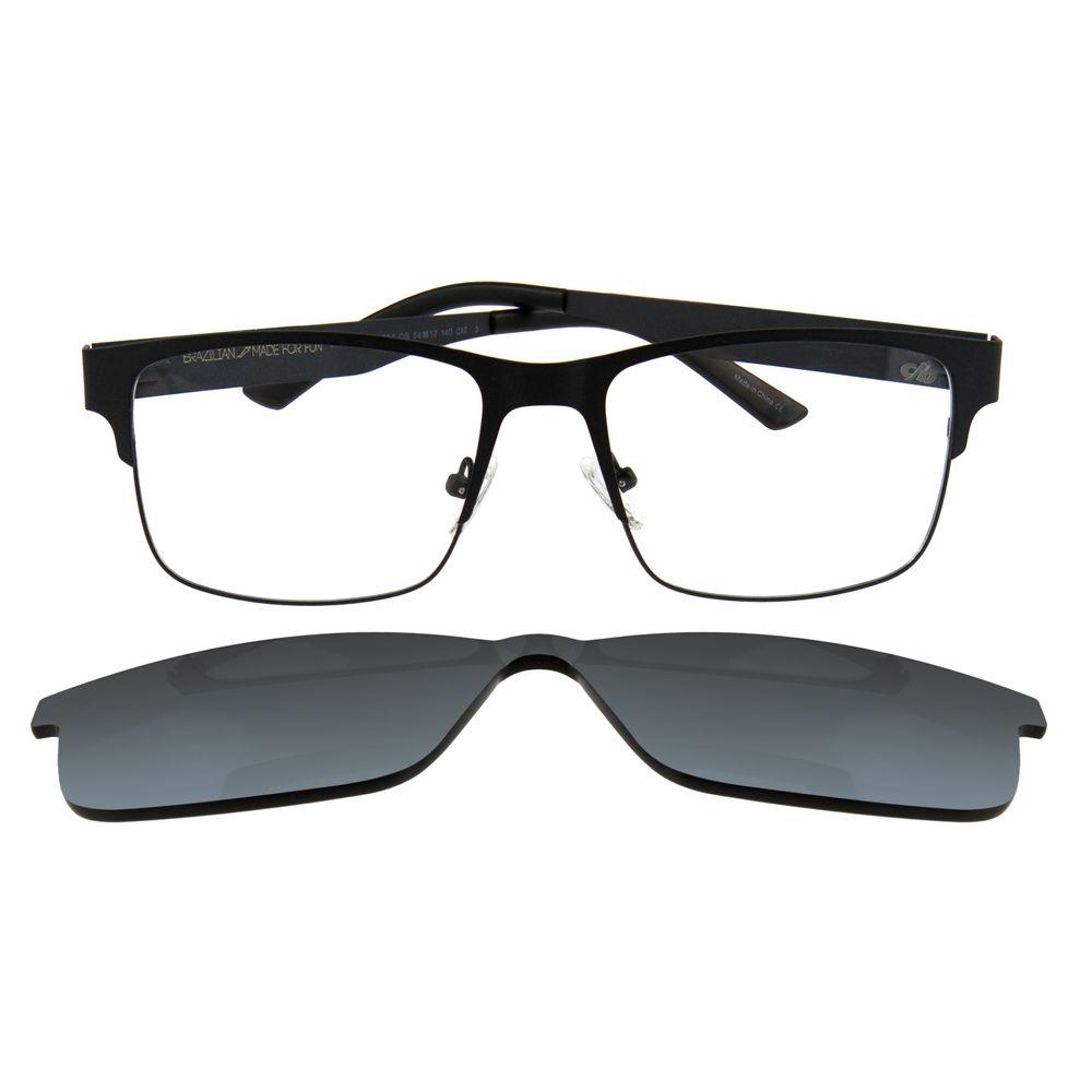 Armação Para Óculos de Grau Masculino Chilli Beans Multi Retangular Cinza LV.MU.0109-0704.6