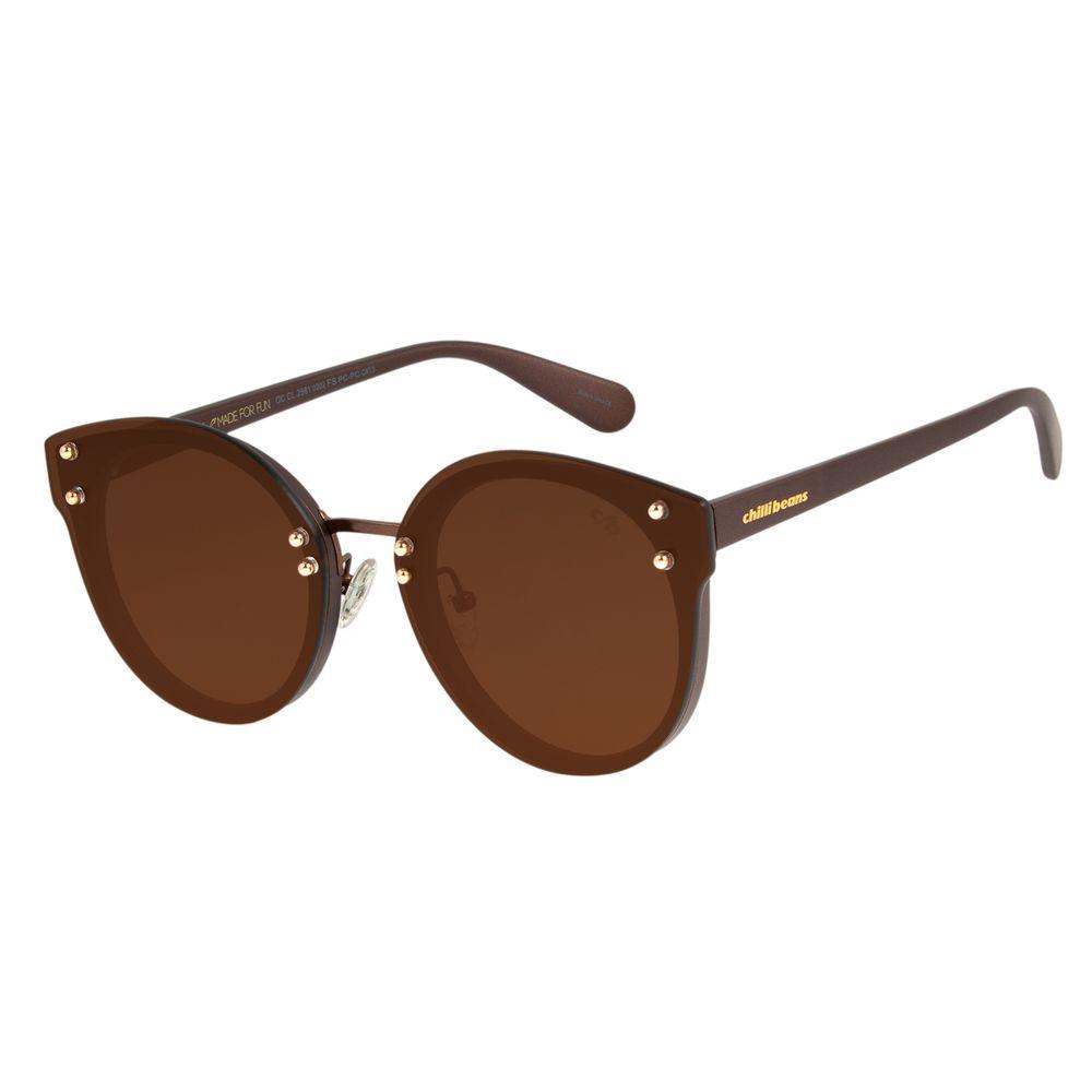 Óculos de Sol Feminino Chilli Beans Redondo Marrom OC.CL.2561-0202
