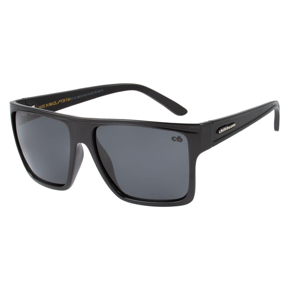Óculos de Sol Unissex Chilli Beans Essential Quadrado Cinza Escuro Polarizado OC.CL.2203-3128