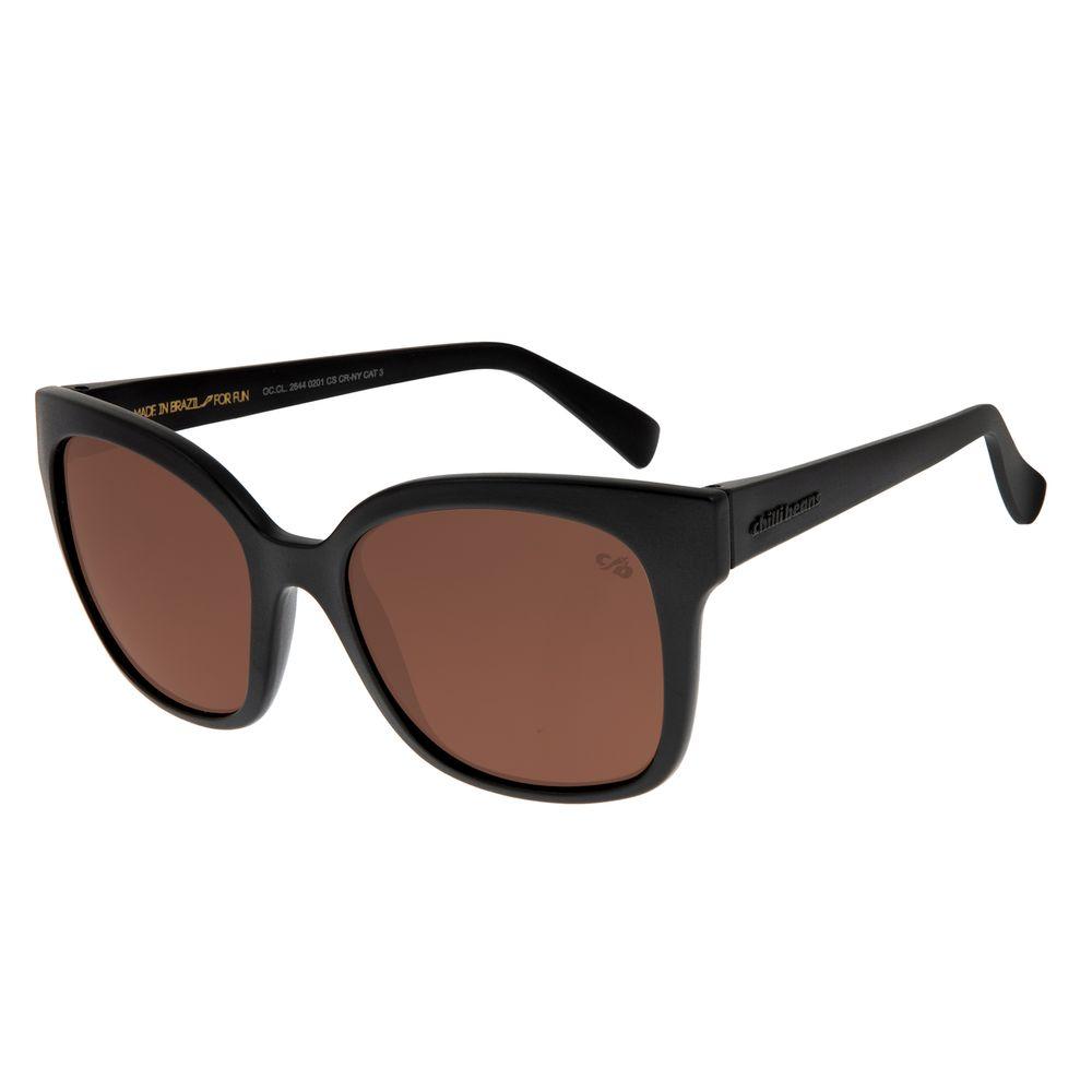 Óculos de Sol Feminino Chilli Beans Quadrado Classic Marrom Fosco OC.CL.2644-0201