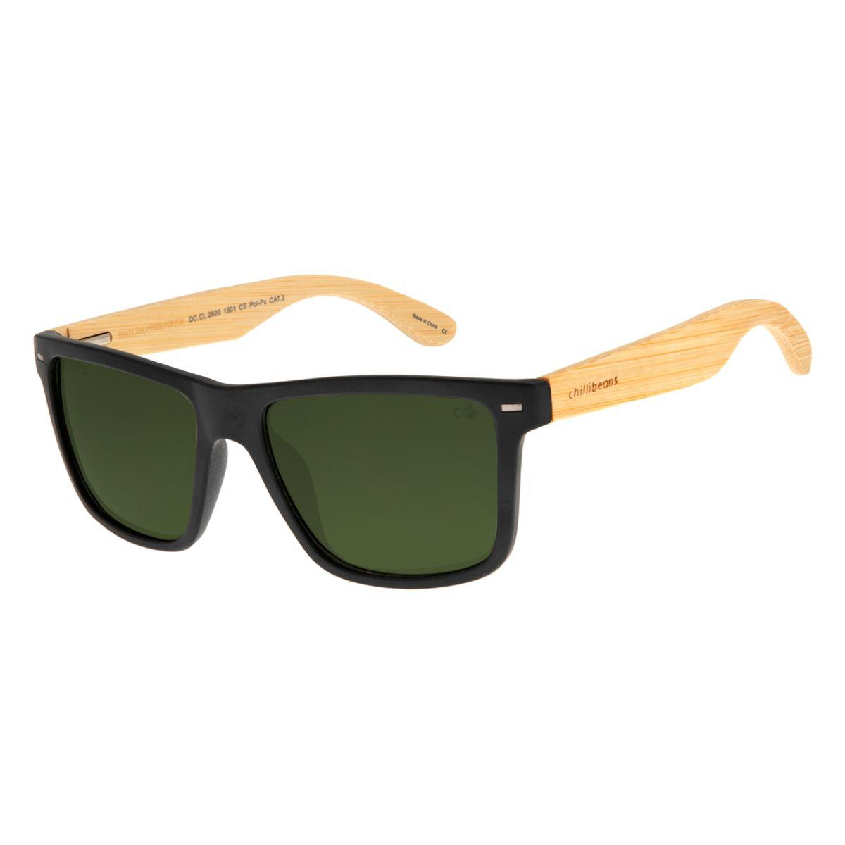 f70973638 Óculos De Sol Chilli Beans Masculino Preto Haste De Bambu Polarizado ...