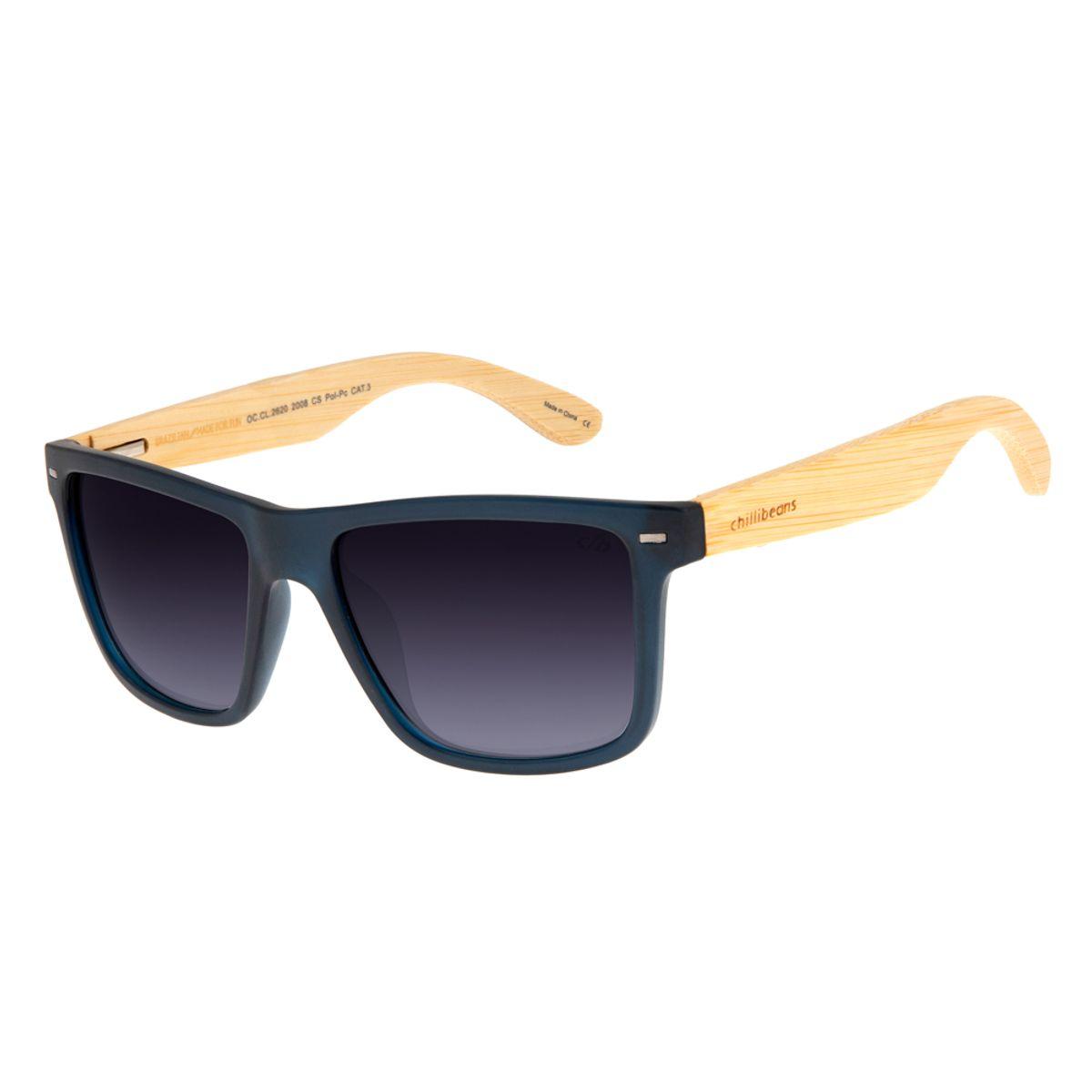 e0933c14d Óculos De Sol Chilli Beans Masculino Azul Haste De Bambu Polarizado ...