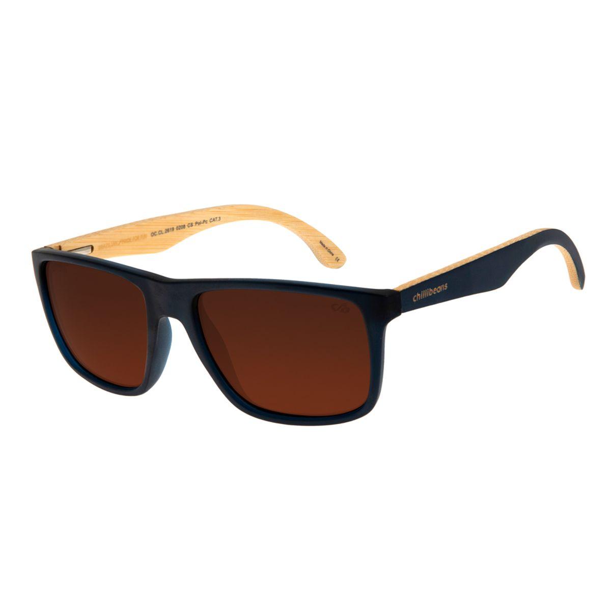00c162506 Óculos de Sol Chilli Beans Masculino Bamboo Polarizado Azul 2619 ...