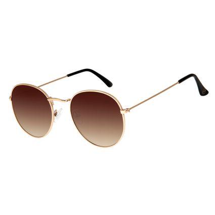 Óculos de Sol Unissex Chilli Beans Redondo Dourado OC.MT.2593-2021