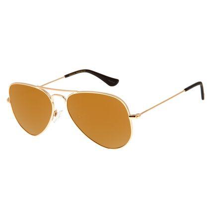Óculos de Sol Unissex Chilli Beans Aviador Essential Polarizado Dourado OC.MT.2512-2121