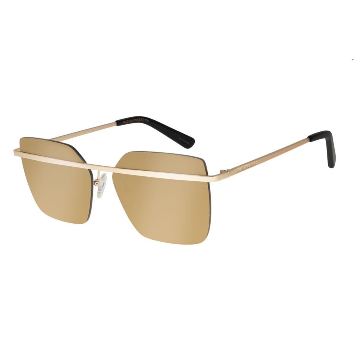 b69d9fbc1 Óculos de Sol Chilli Beans Feminino Quadrado Metal Dourado 2121 ...