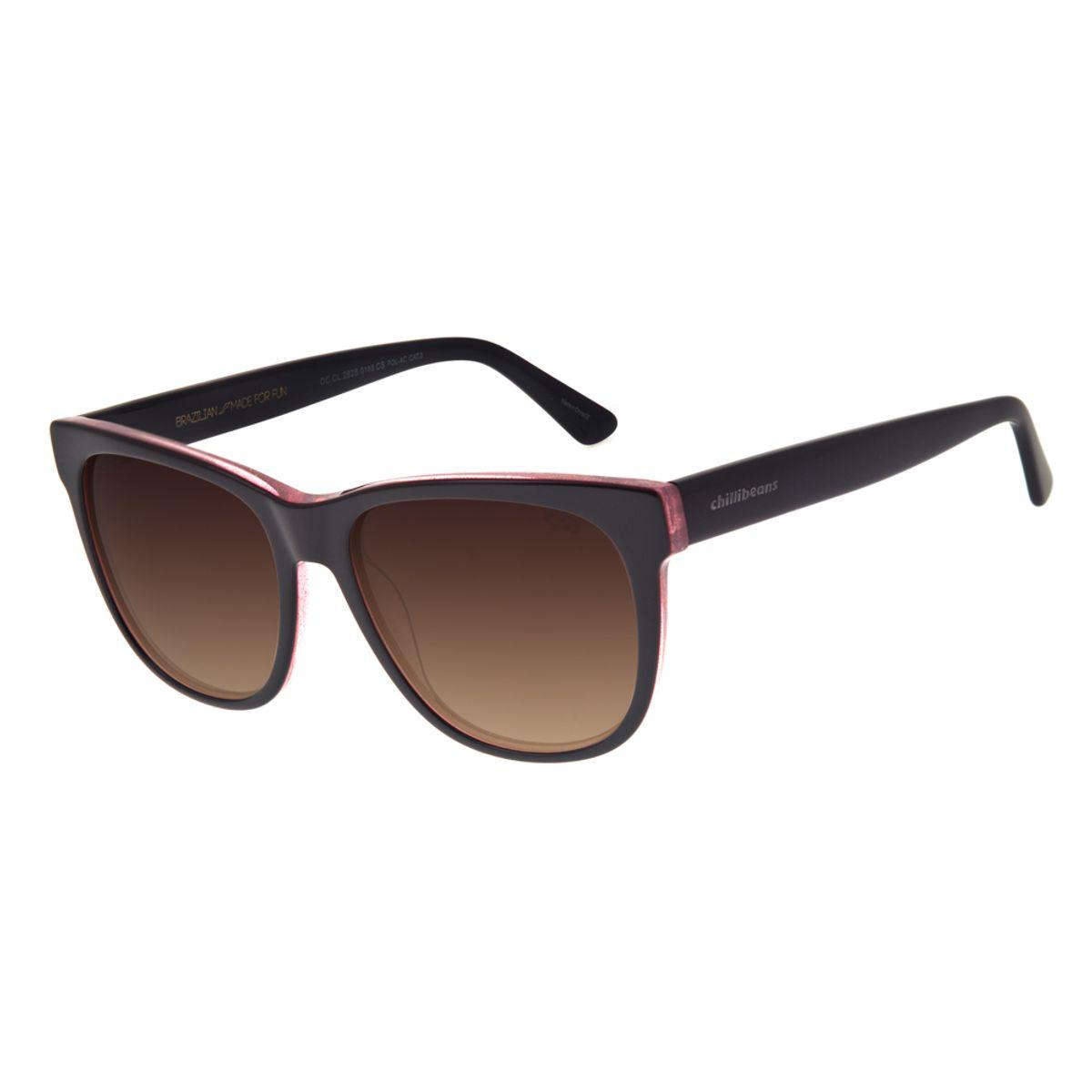 37e0ba9389809 Óculos de Sol Chilli Beans Feminino Retrô Polarizado Preto Mesclado ...