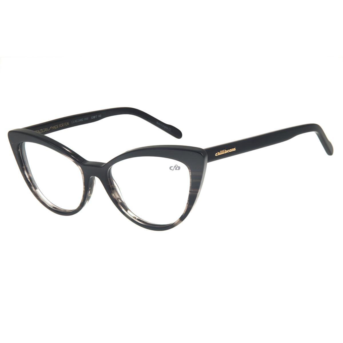 e0cbeb66f Armação para Óculos de Grau Chilli Beans Gatinho Feminino Preto ...