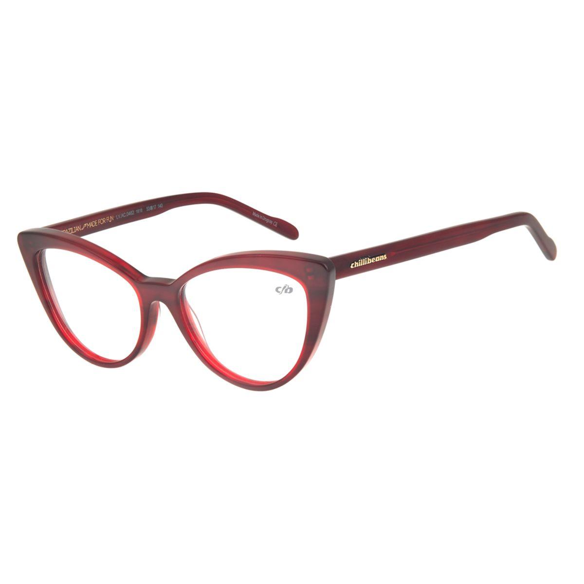 5676fa92b Armação para Óculos de Grau Feminino Chilli Beans Gatinho Vermelho ...