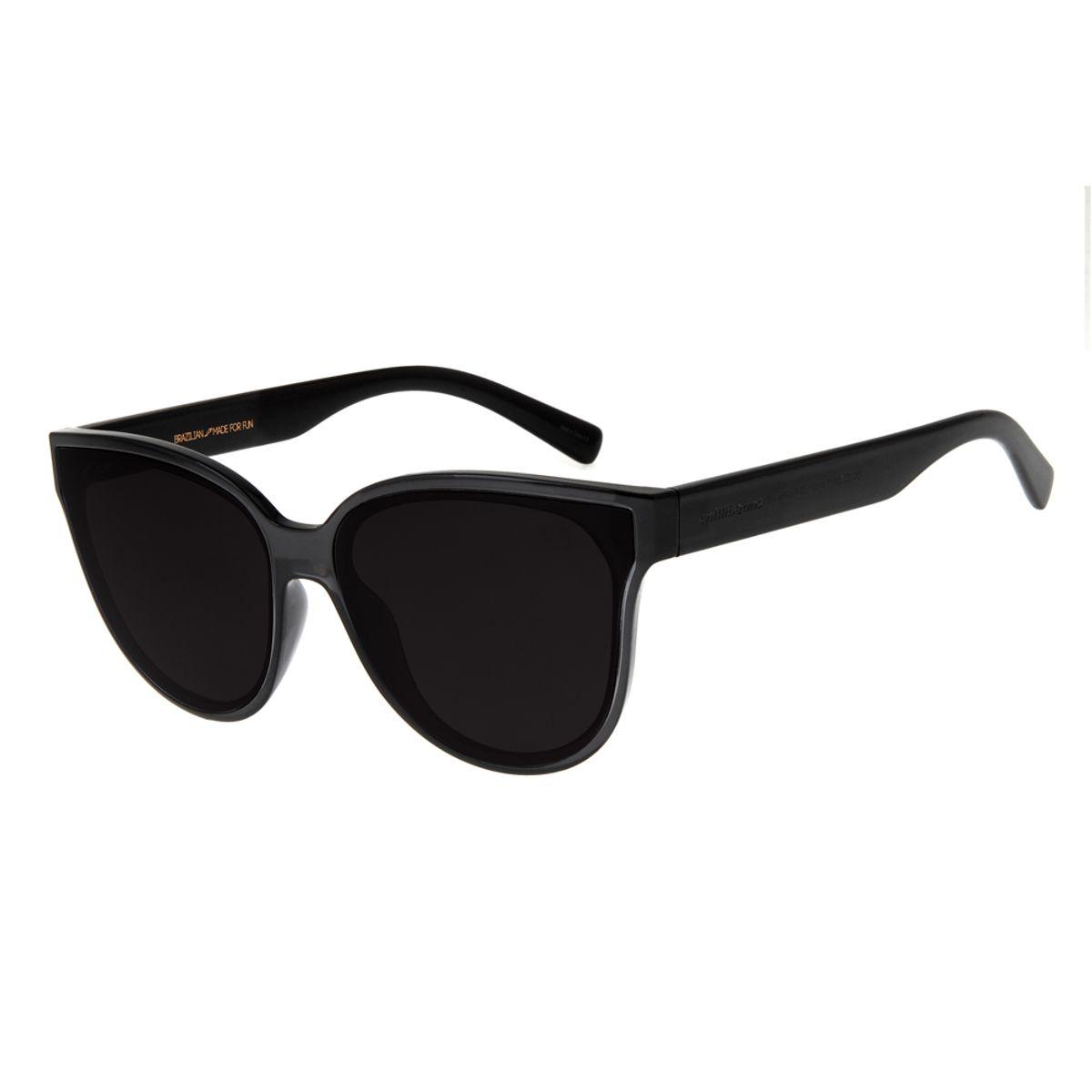 b60265c3b6516 Óculos de Sol Feminino Chilli Beans Gatinho Preto Transparente 2707 ...