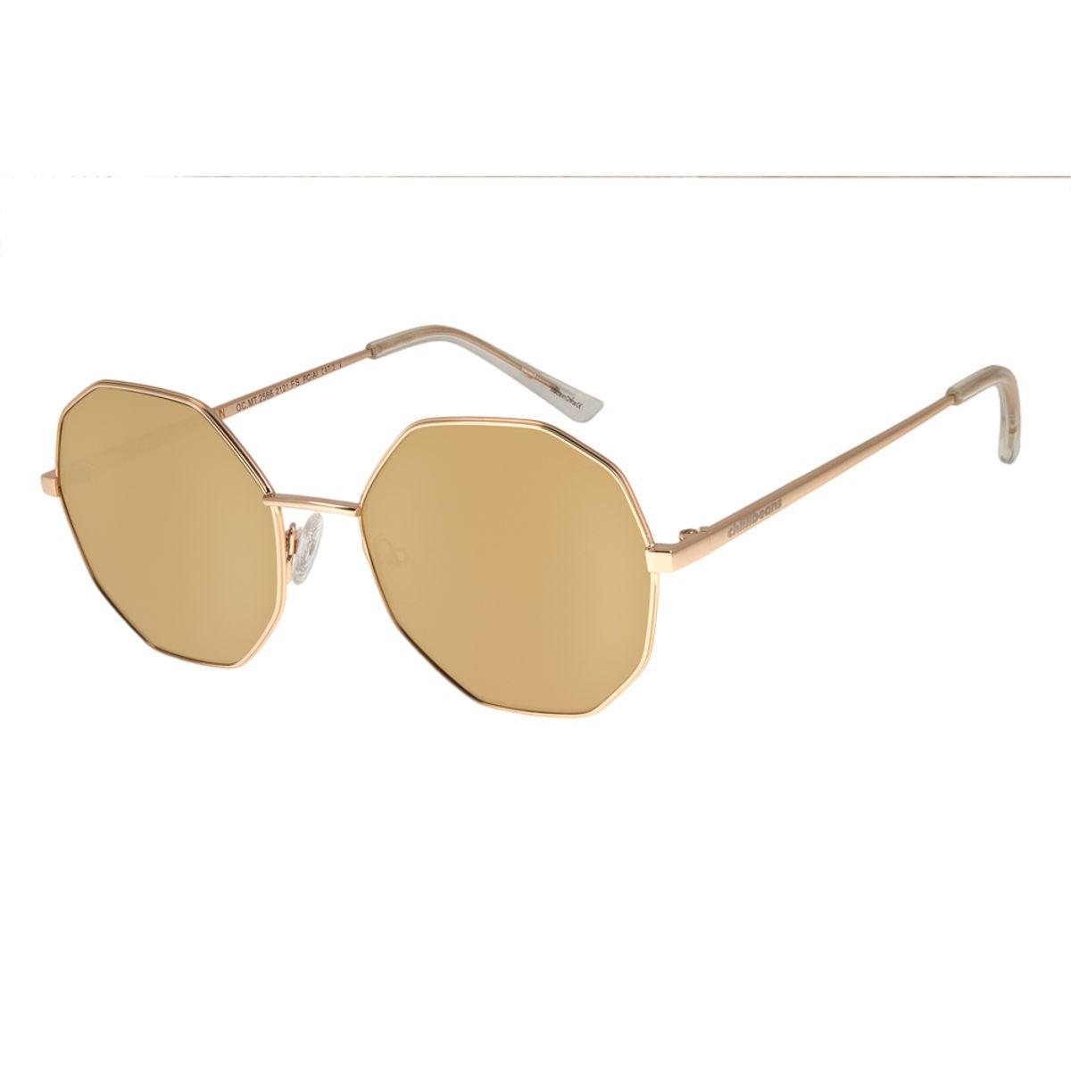 190dfa63aabe5 Óculos de Sol Chilli Beans Feminino Octagonal Dourado 2566 - Chilli ...