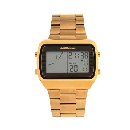dd167e420435e Relógio Digital Chilli Beans Masculino Metal Dourado 0735