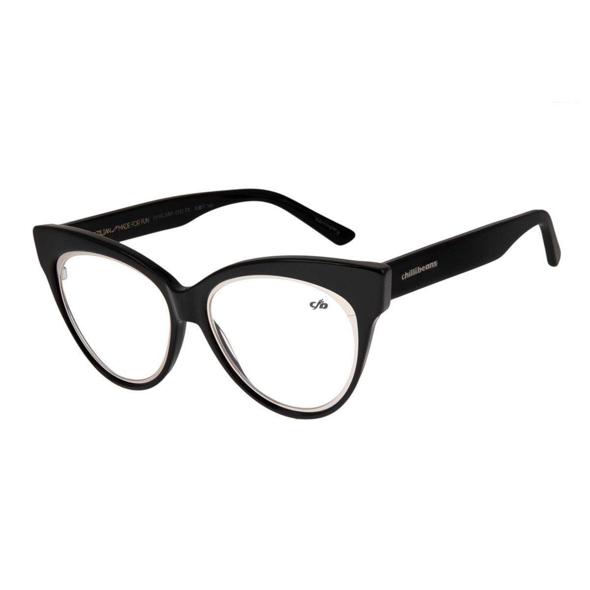 c42154a52 Armação para Óculos de Grau Feminina Chilli Beans Gatinho Preto 0481 ...
