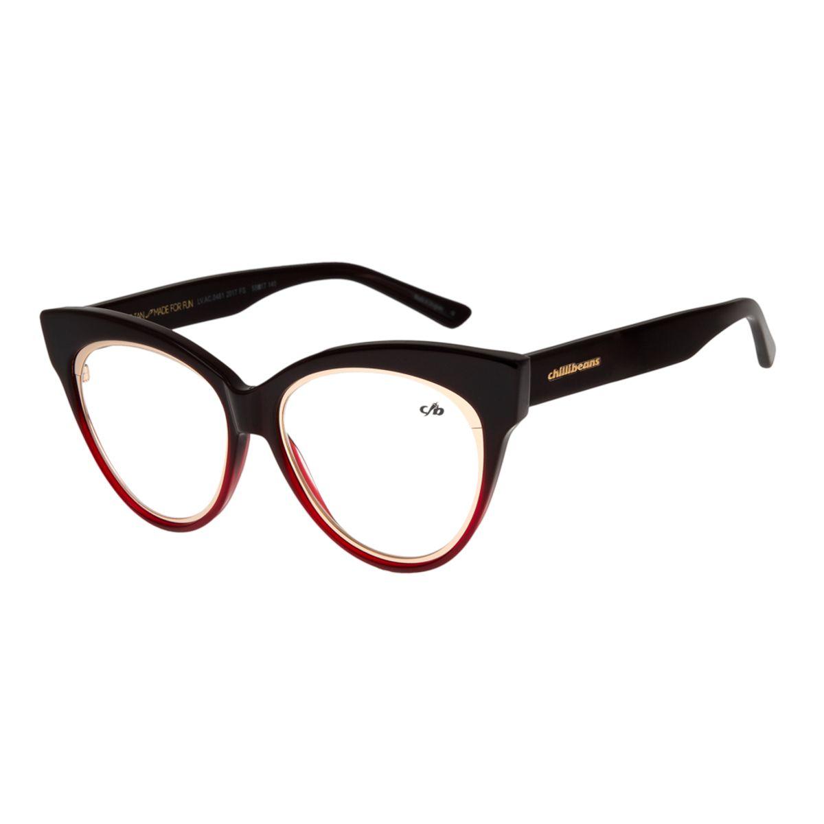 ef77c2fcd Armação para Óculos de Grau Feminina Chilli Beans Gatinho Degradê ...