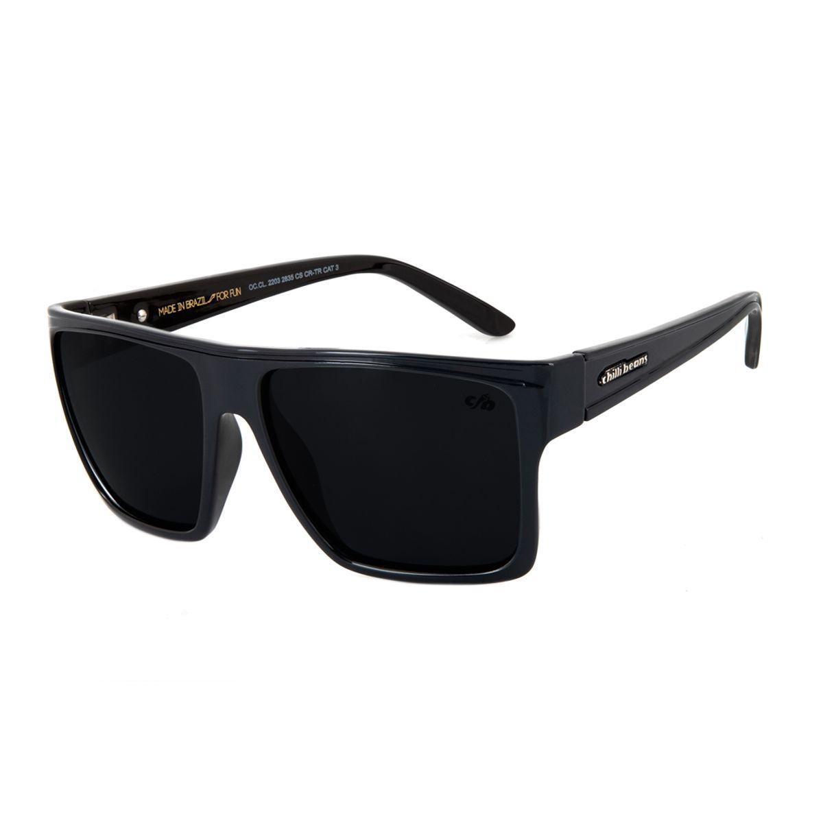 23dd1af792f3c Óculos De Sol Chilli Beans Unissex Quadrado Preto Polarizado 2203 ...