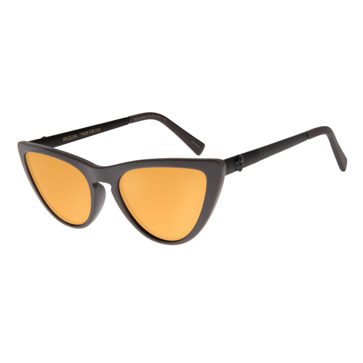 3fb1ee67c29c7 Óculos De Sol Chilli Beans Feminino Caveira Gatinho Marrom 2640 ...