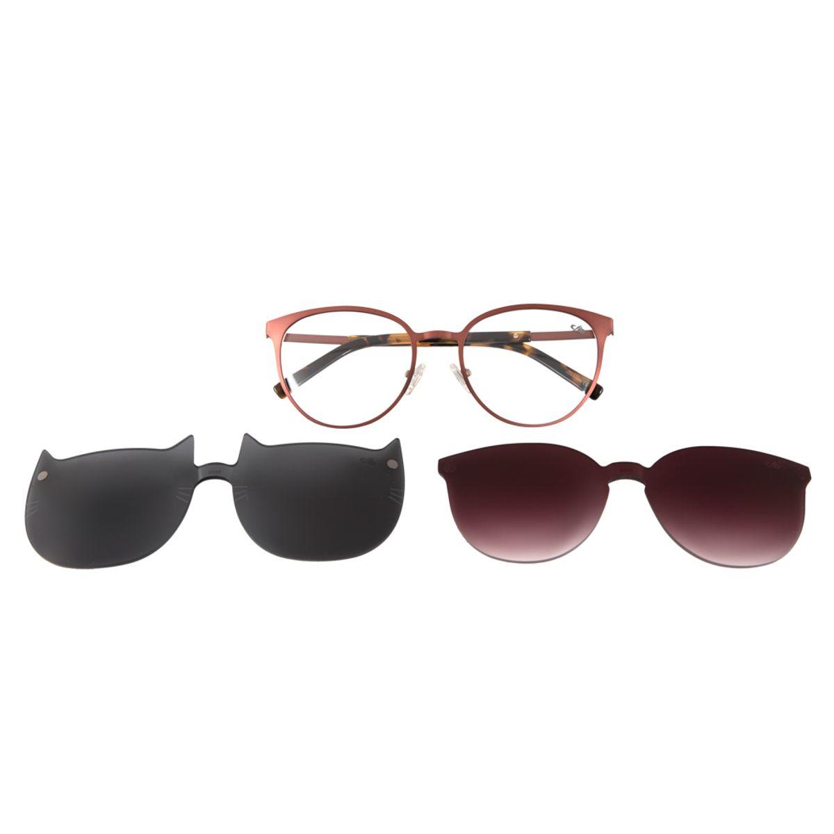 485c76f57 Armação para Óculos de Grau Chilli Beans Multi 2 em 1 Gatinho Marrom ...