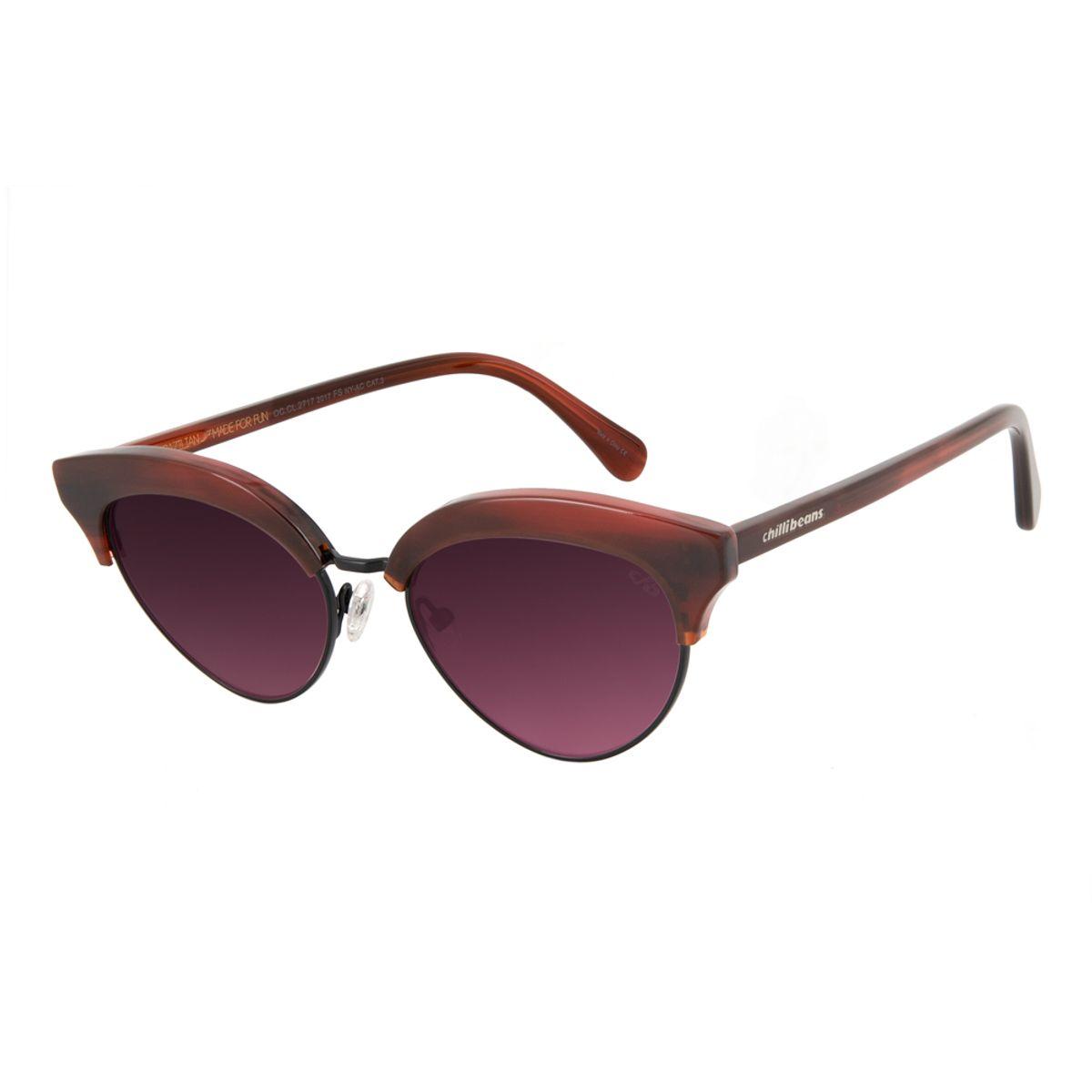 dae10a150 Óculos de Sol Feminino Chilli Beans Gatinho Vinho 2717 - Chilli Beans