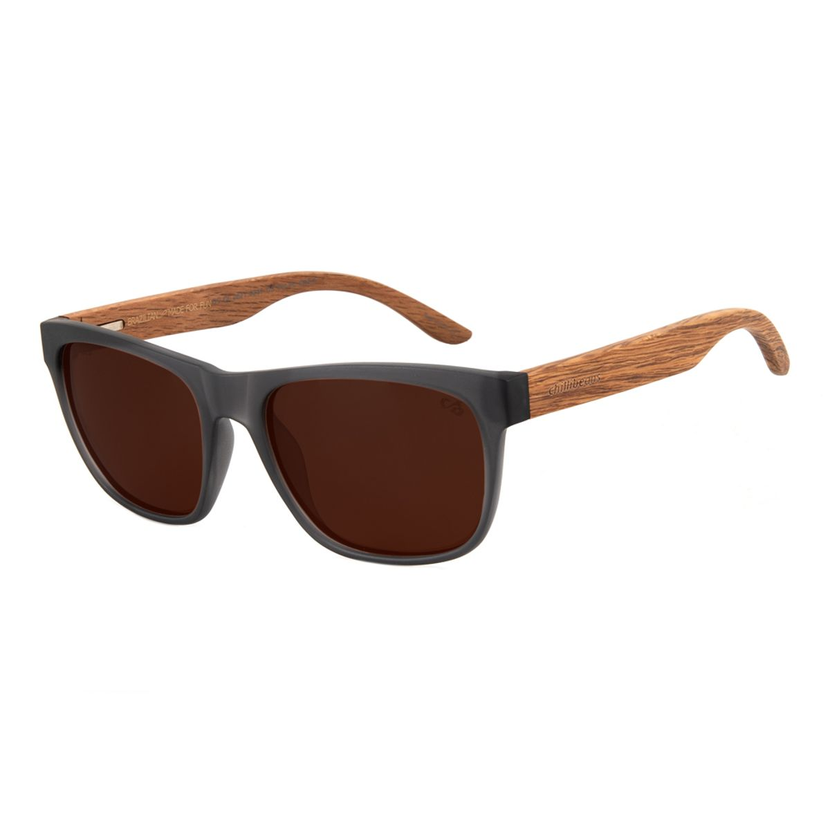 62f336f74 Óculos de Sol Chilli Beans Masculino Haste de Madeira Marrom Fosco ...