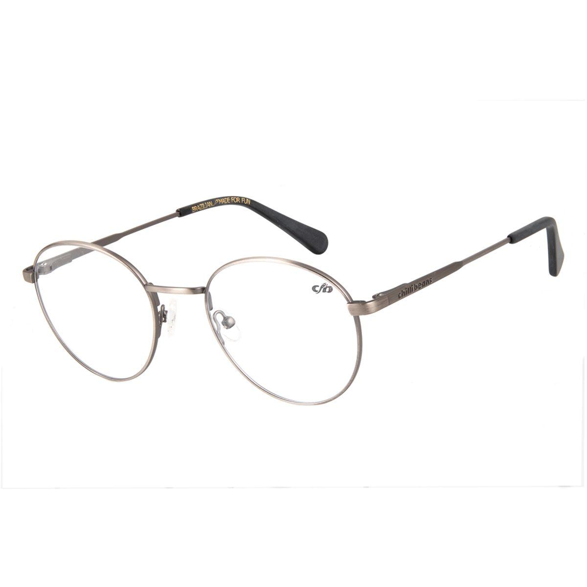 d54ec5460e96a Armação para Óculos de Grau Unissex Chilli Beans Redondo Cinza ...