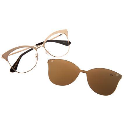 4ea6235d5170b Armação para Óculos de Grau Feminino Chilli Beans Multi 2 em 1 Dourado 0159
