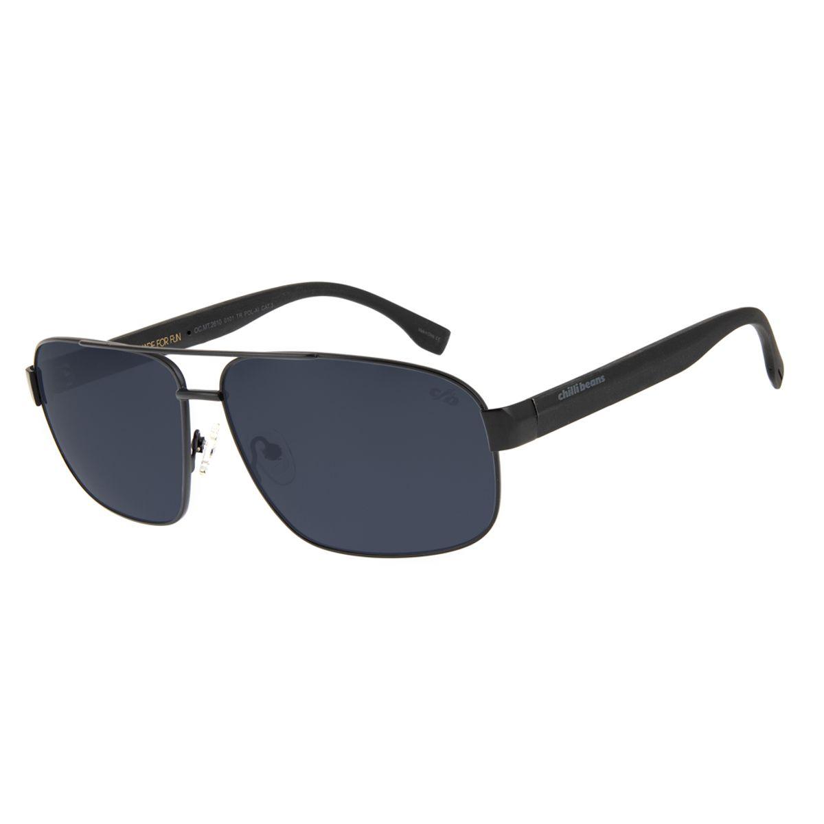 458324fe5 Óculos de Sol Chilli Beans Masculino Metal Army Polarizado Preto ...