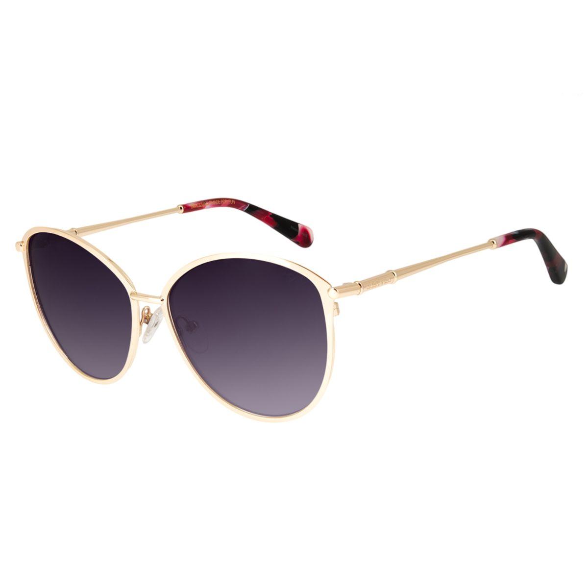 627133030803e Óculos de Sol Chilli Beans Feminino Gatinho Metal Dourado 2607 ...