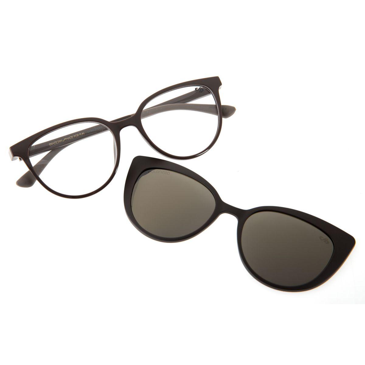 1e35664a0 Armação para Óculos de Grau Chilli Beans Feminino Multi 2 em 1 Cinza ...