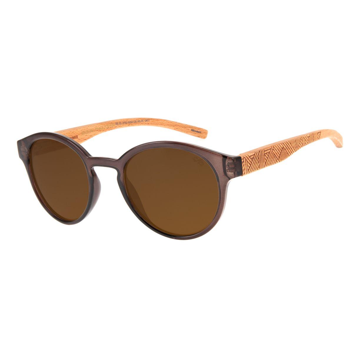 edb5e1338c0e0 Óculos de Sol Chilli Beans Masculino Arte de Rua Cranio Marrom Bambu ...