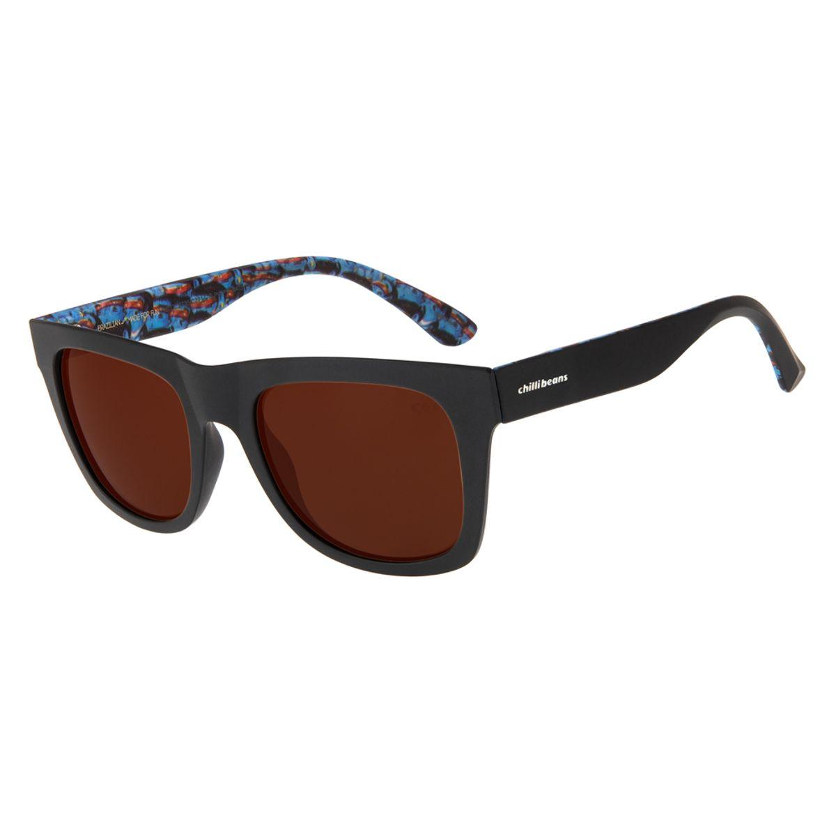 e4c25d045 Óculos de Sol Chilli Beans Masculino Arte de Rua Cranio Índios Preto ...