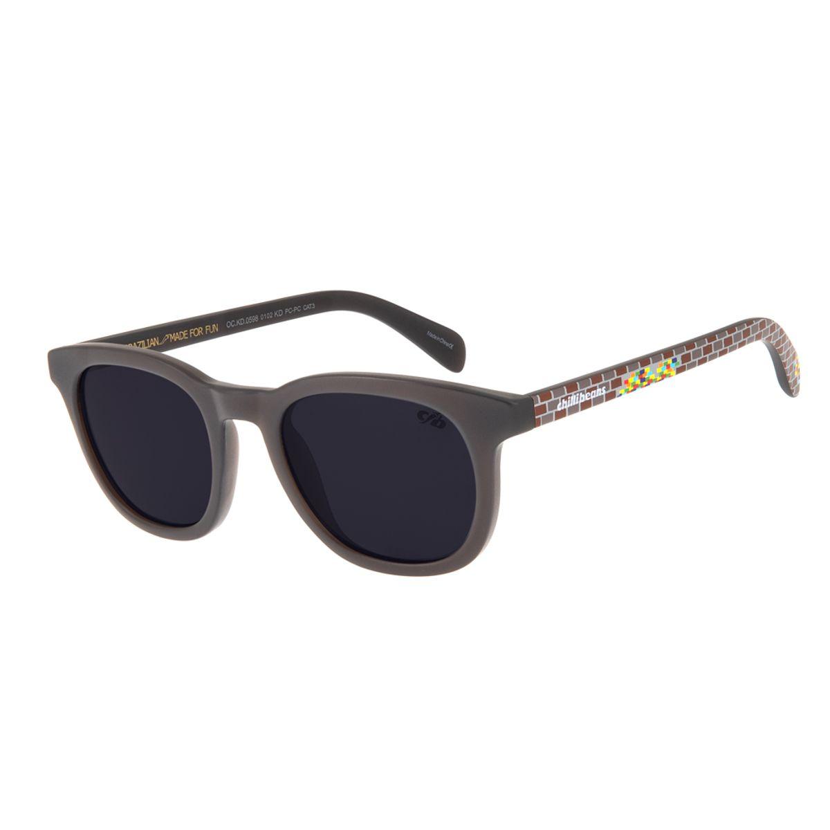 f90d43c24 Óculos de Sol Chilli Beans Infantil Blocos Arte de Rua Cranio Marrom ...