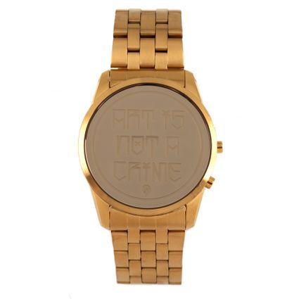 Relógio Digital Masculino Arte De Rua Crânio Dourado RE.MT.0802-2121
