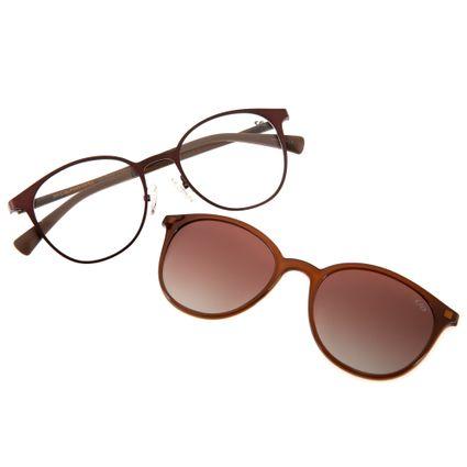 7923781763375 Armação para Óculos de Grau Chilli Beans Feminino Multi 2 em 1 Marrom  Polarizado 0152