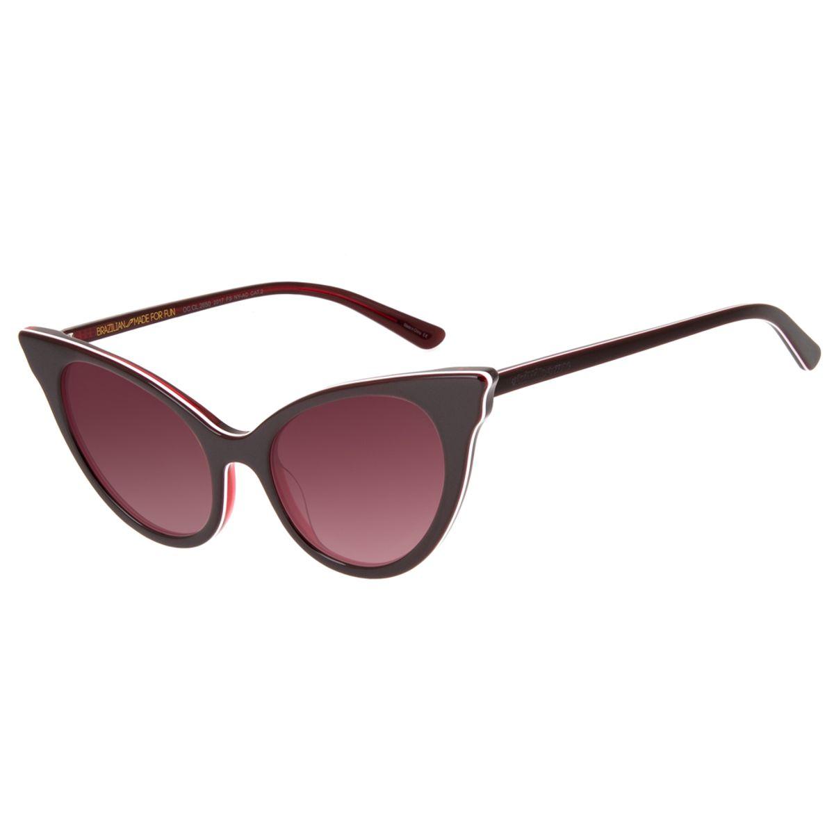 d7adcbaed Óculos de Sol Chilli Beans Feminino Gatinho Asas Vinho 2650 - Chilli ...