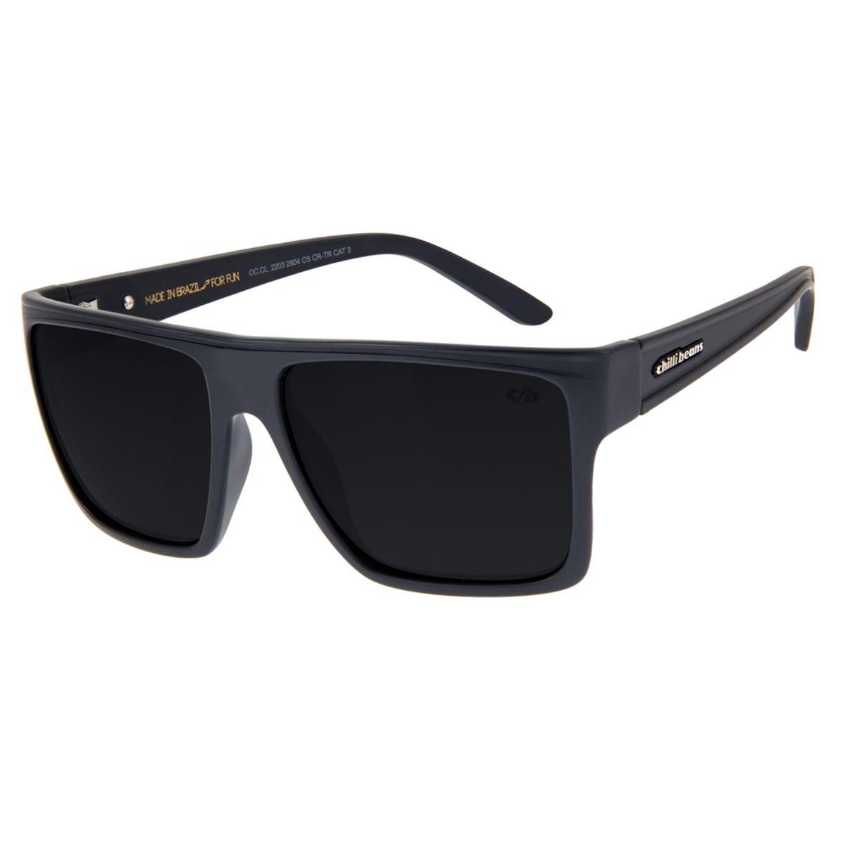 fcec67b9a Óculos De Sol Chilli Beans Unissex Quadrado Cinza Polarizado 2203 ...