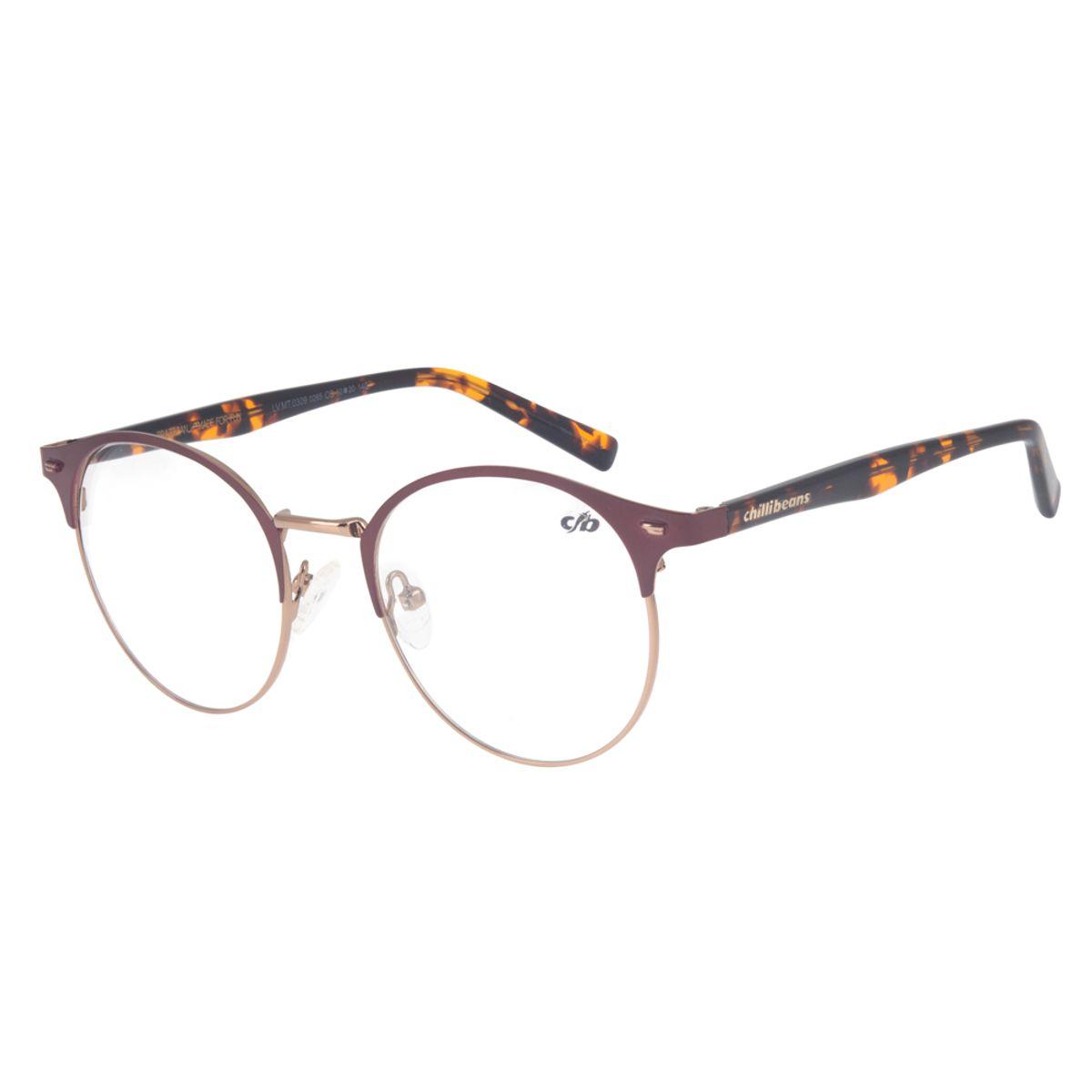 bc79b75f7 Armação para Óculos de Grau Redondo Chilli Beans Unissex Metal ...