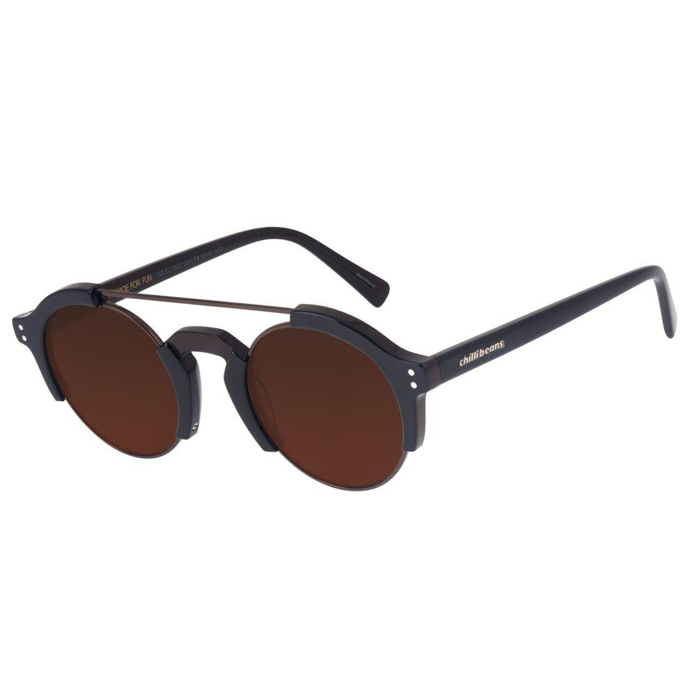 Óculos de Sol Chilli Beans Unissex Steampunk Marrom 2630 0201