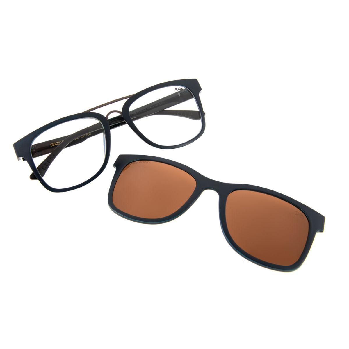 b90066ed0 Previous. Armação para Óculos de Grau Chilli Beans Unissex Clip On  Polarizado Azul ...