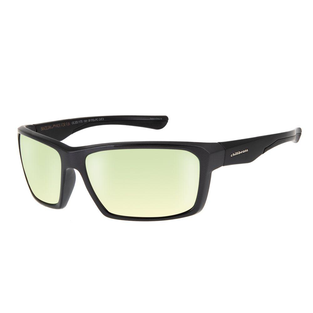 oculos de sol chilli beans esportivo unissex preto espelhado polarizado 1170 1301