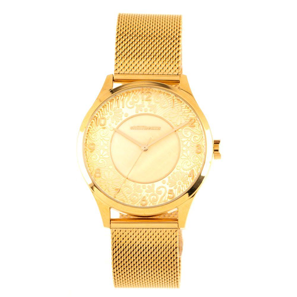 Relógio Analógico Feminino Lady Like Floral Metal Dourado RE.MT.0845-2121