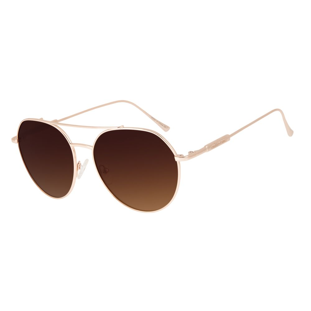 oculos de sol chilli beans aviador lady like banhado a ouro rose 2625 0295