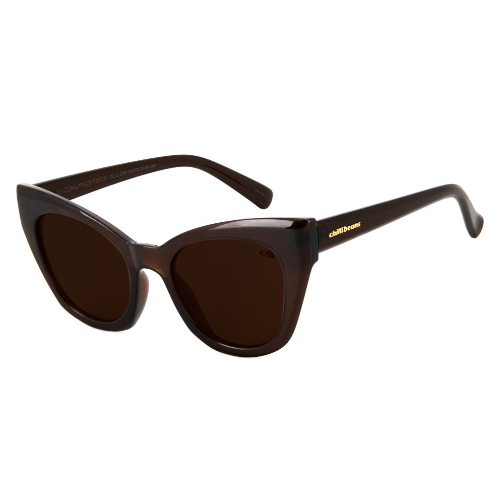 oculos de sol chilli beans gatinho lady like marrom 2705 0202