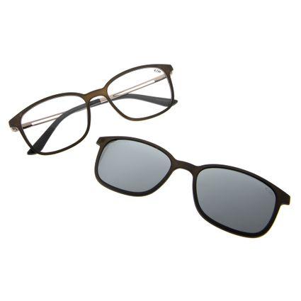 armacao para oculos de grau chilli beans unissex multi clip on polarizado cinza 0192