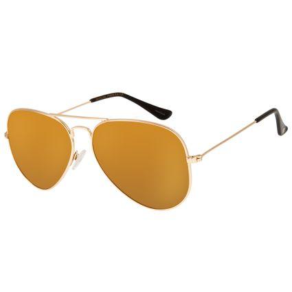 Óculos De Sol Aviador Unissex Chilli Beans Polarizado Dourado 2416 OC.MT.2416-2121
