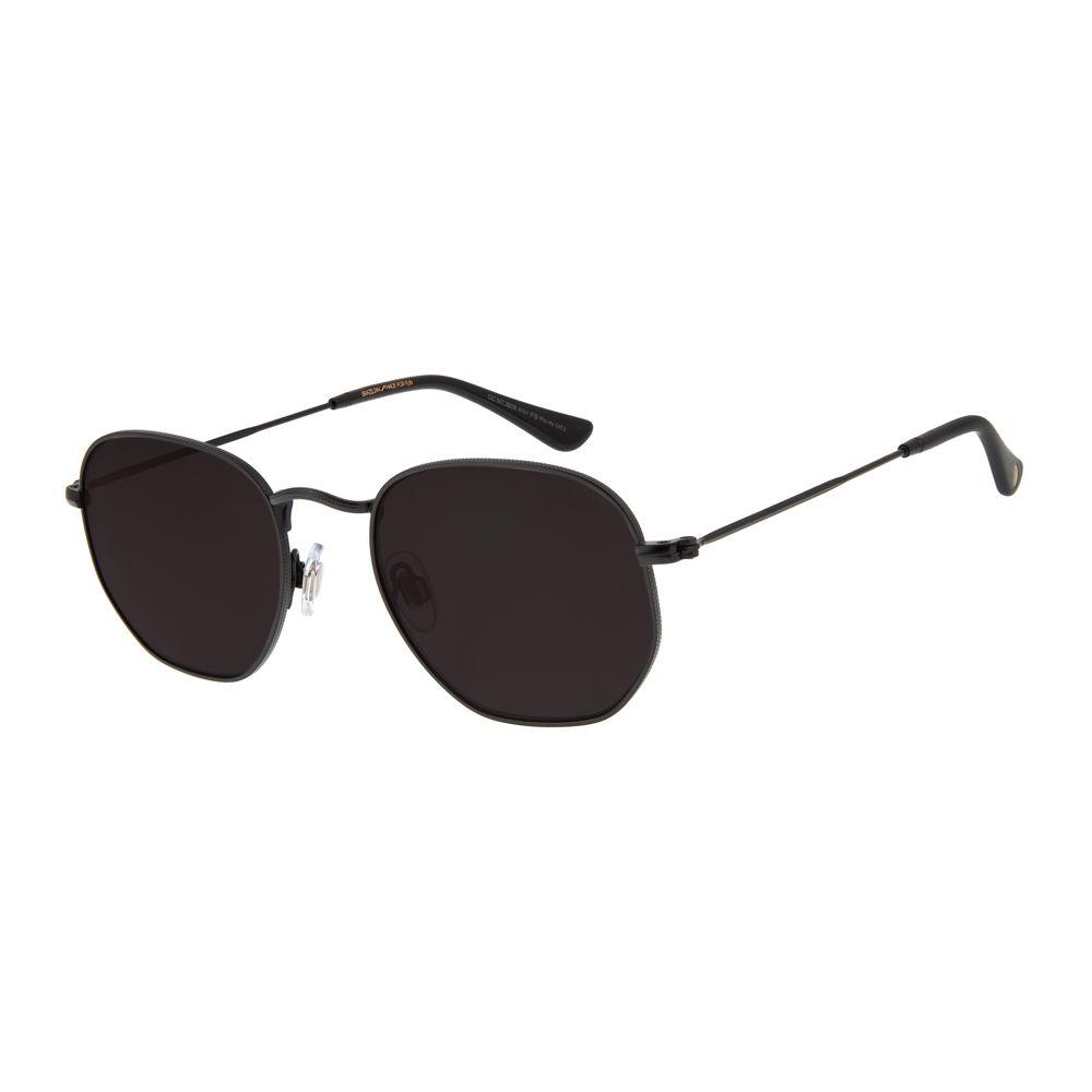 oculos de sol chilli beans unissex metal redondo preto 2606 0131